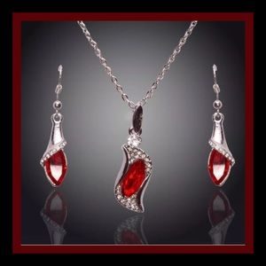 Jewelry - Ruby Red Crystal Necklace & Earrings Set